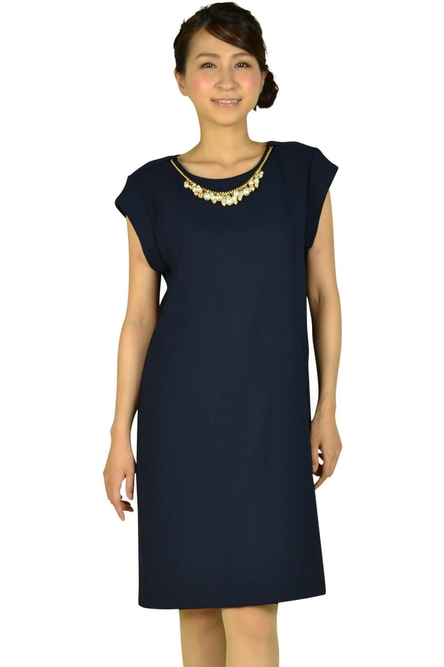 ル ジュール(LE JOUR)フレンチスリーブネイビードレス