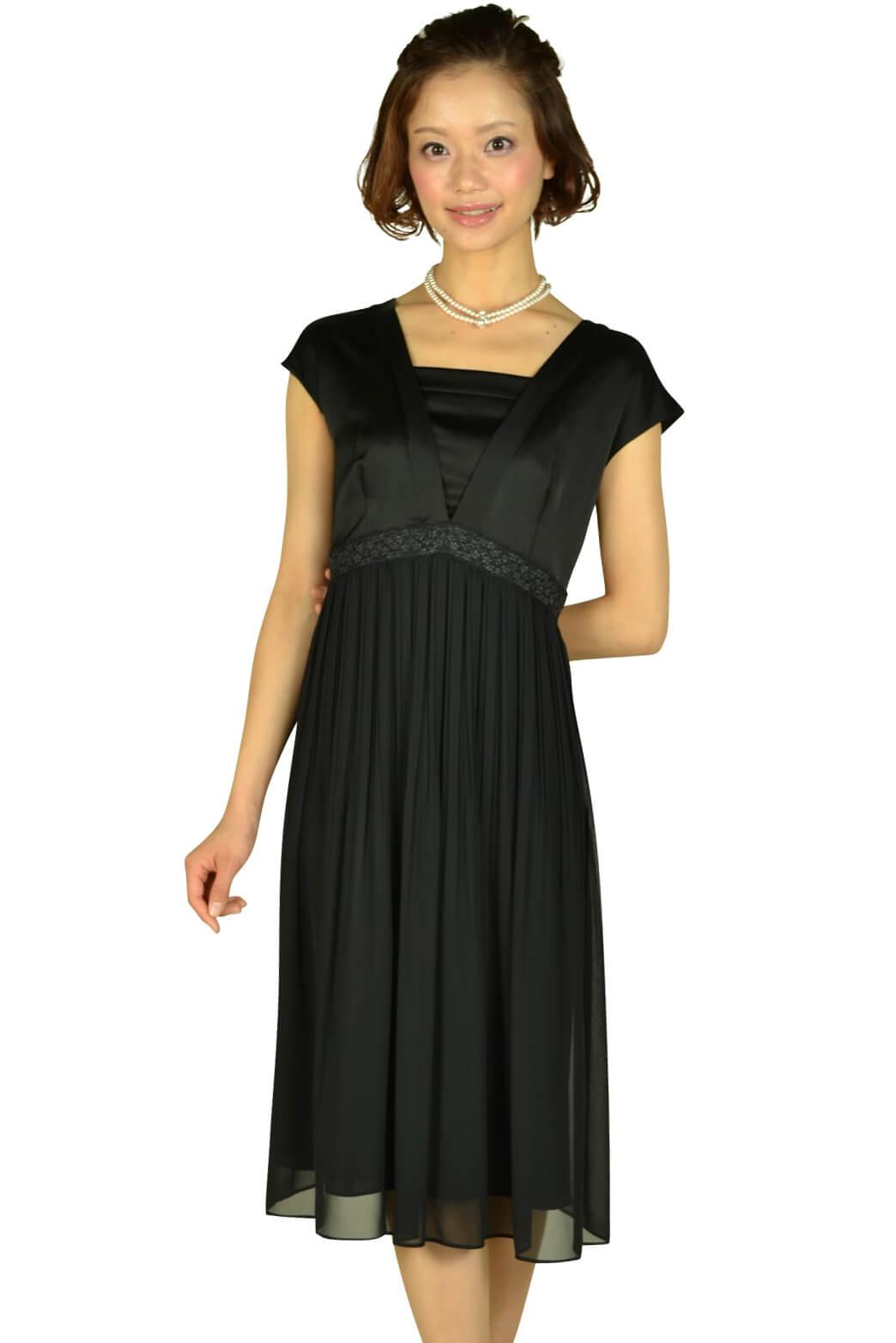 アンタイトル(UNTITLED)ブラックミディ丈ドレス