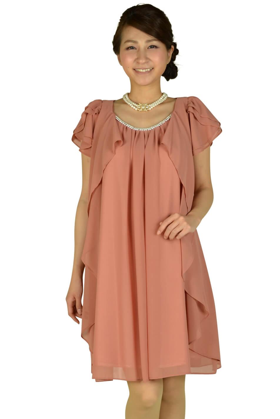 ミベル ミューズ (mebelle muse)ゆったりピンク袖付きドレス