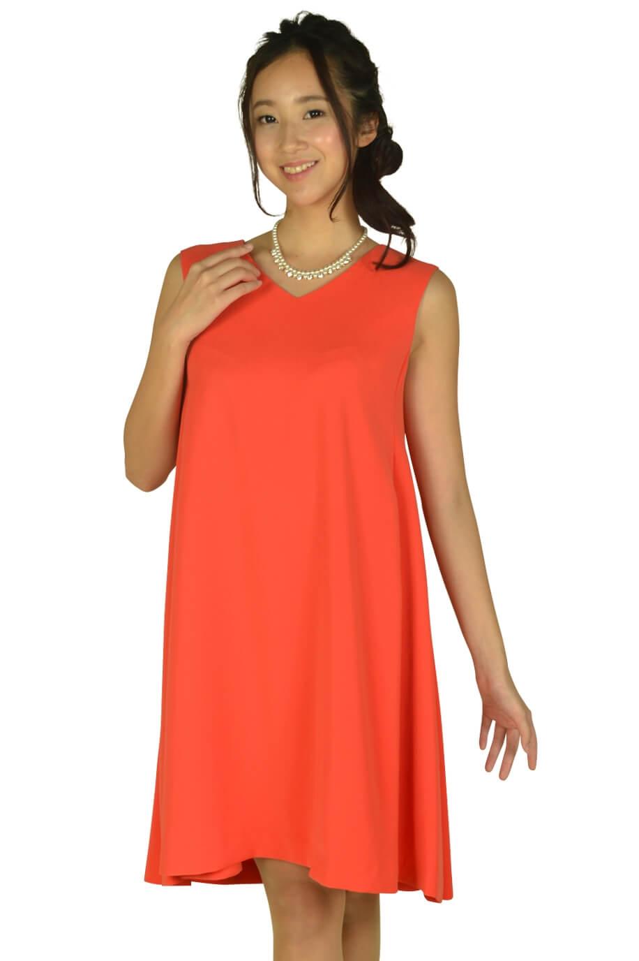 ストロベリーフィールズ(STRAWBERRY-FIELDS)VネックAラインオレンジドレス