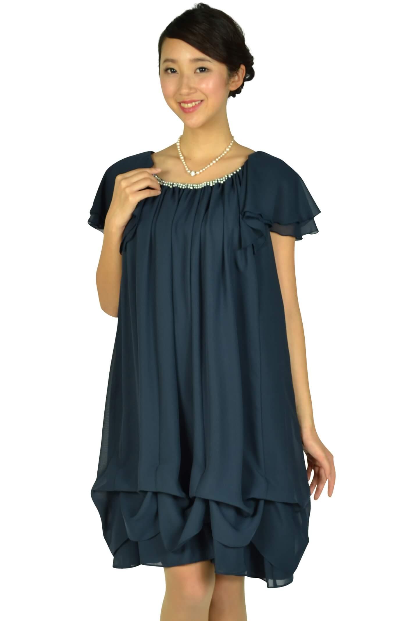 デリセノアール(DELLISE NOIR)ゆったりAラインネイビードレス