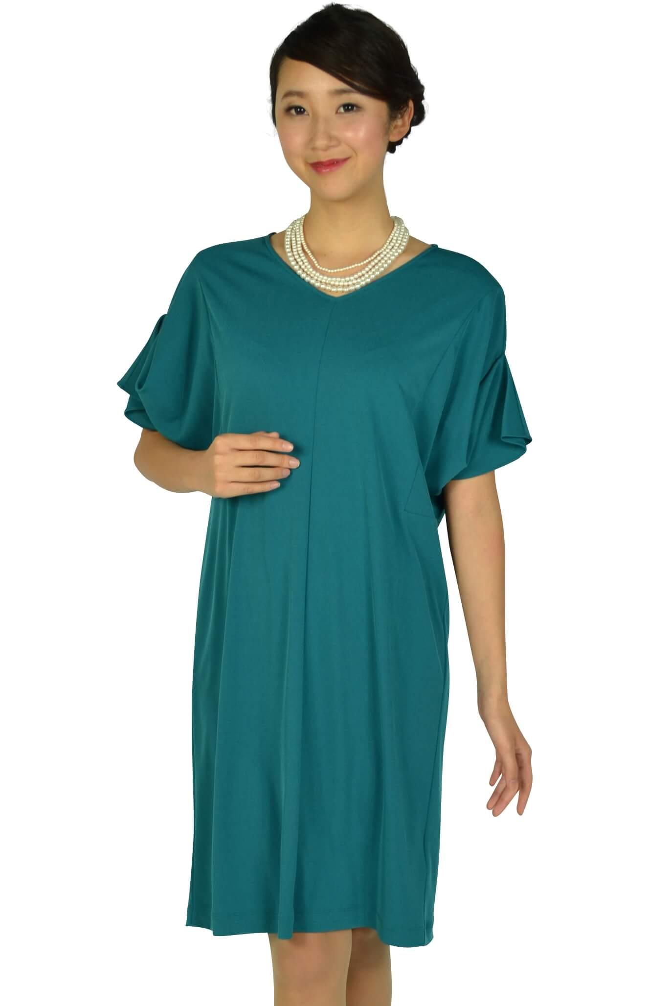 ロートレアモン(LAUTREAMONT) ゆったり5分袖ブルーグリーンドレス