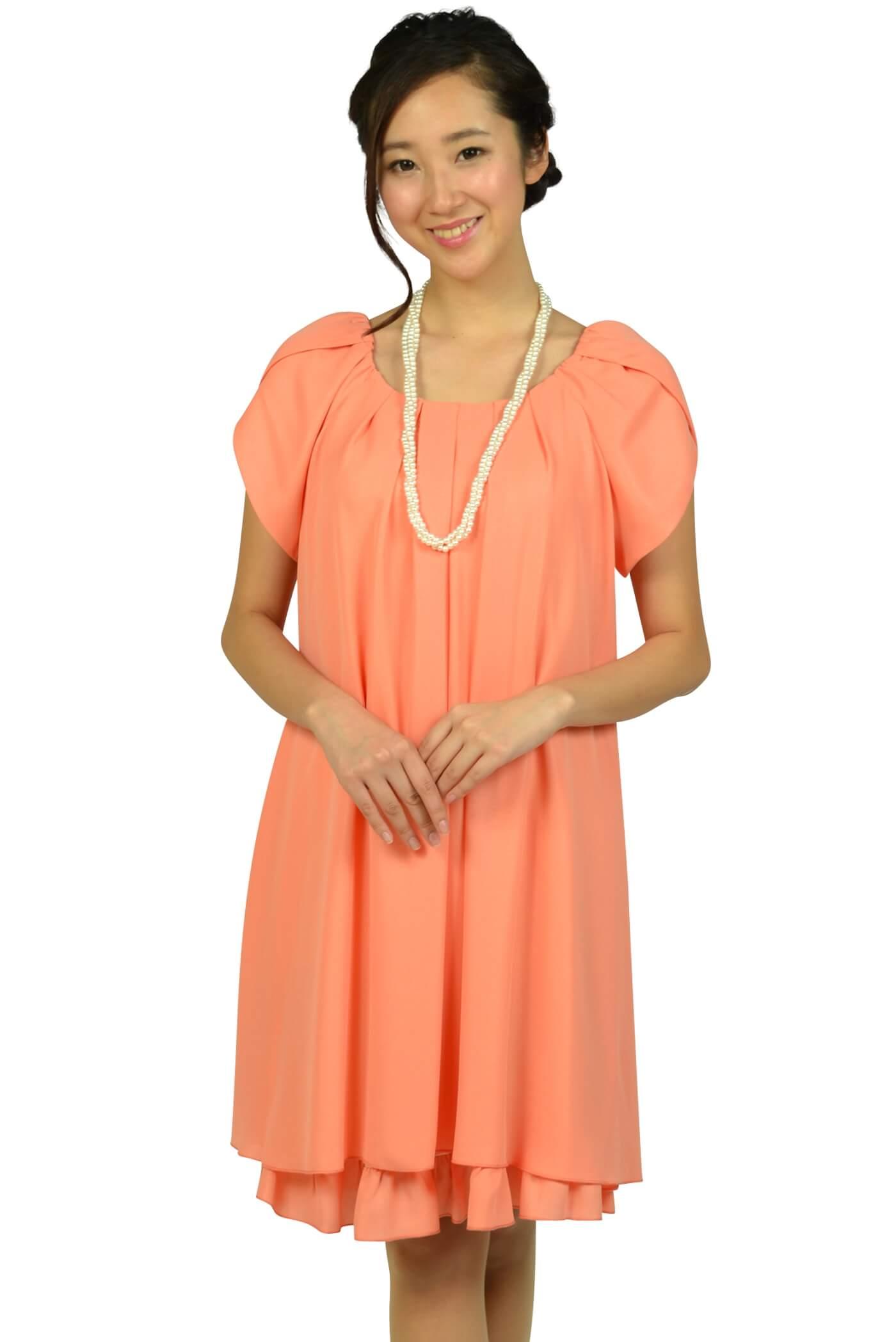 アプレジュール (Apres jour)ラメフリルコーラルオレンジドレス