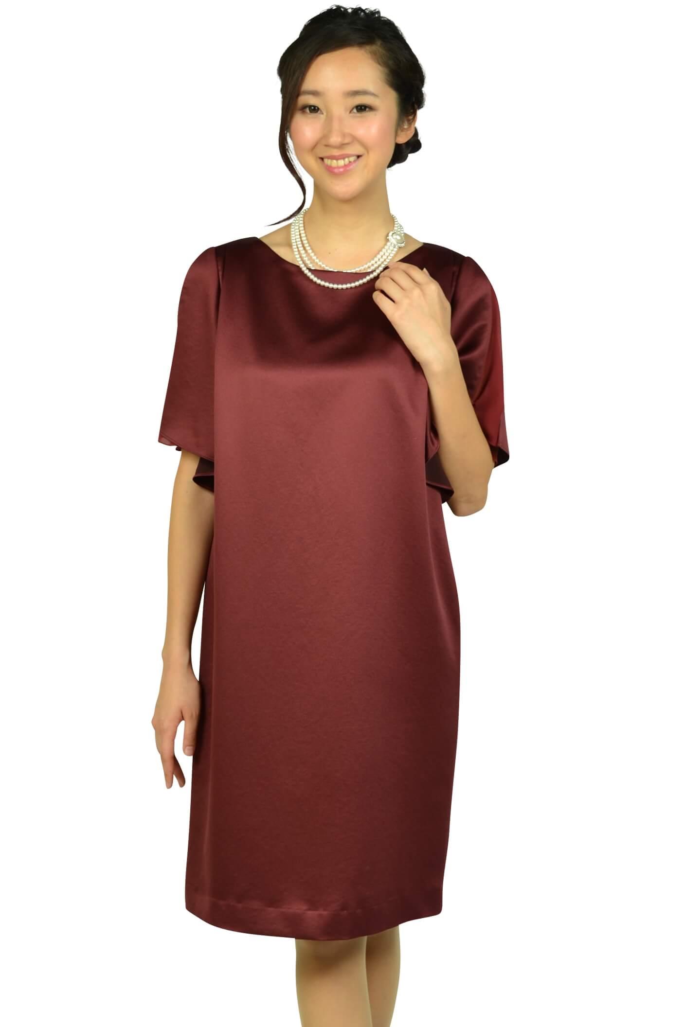 アンタイトル(UNTITLED)光沢ボルドーゆったりドレス