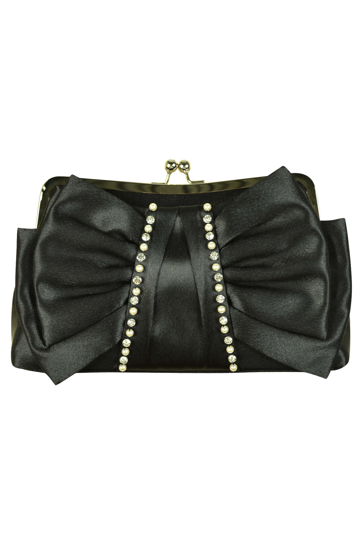 アグレアーブル(Agreable)リボン風デザインブラックバッグ