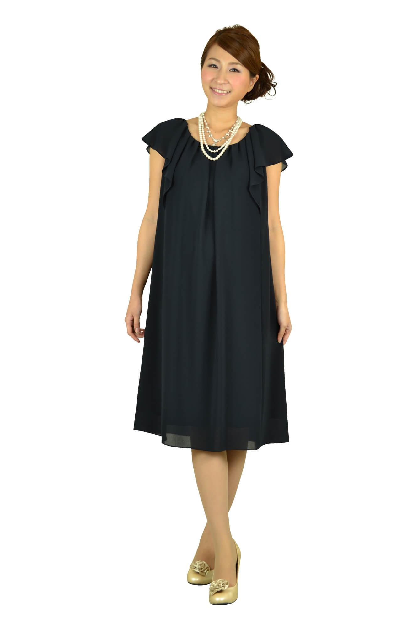 アンタイトル(UNTITLED)ネイビーミニ袖ドレス