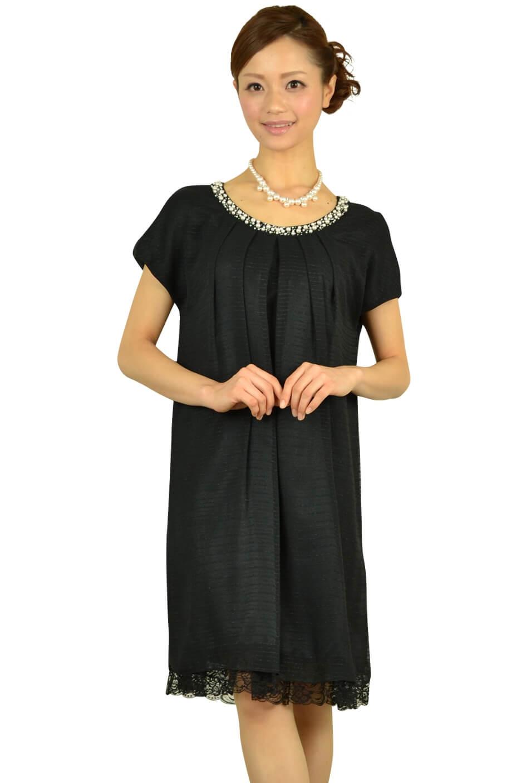 クリアインプレッション(Clear Impression)ブラックゆったりミニ袖ドレス