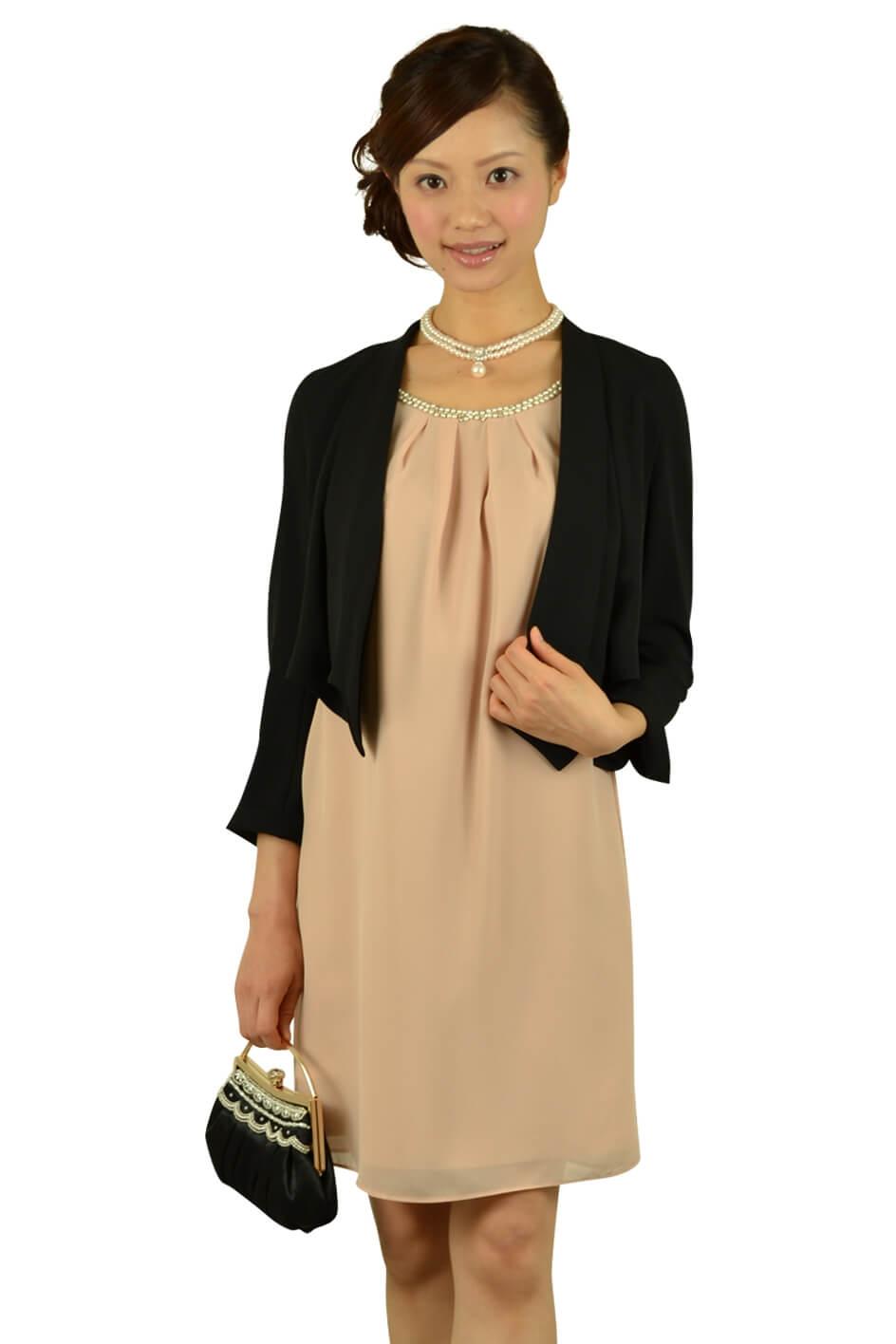 ジャスグリッティー(JUSGLITTY)ピンクミニ袖ドレス