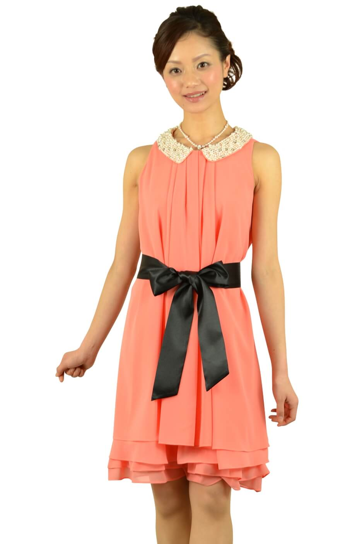 アプレジュール(Apres jour)パール襟付きピンクドレス