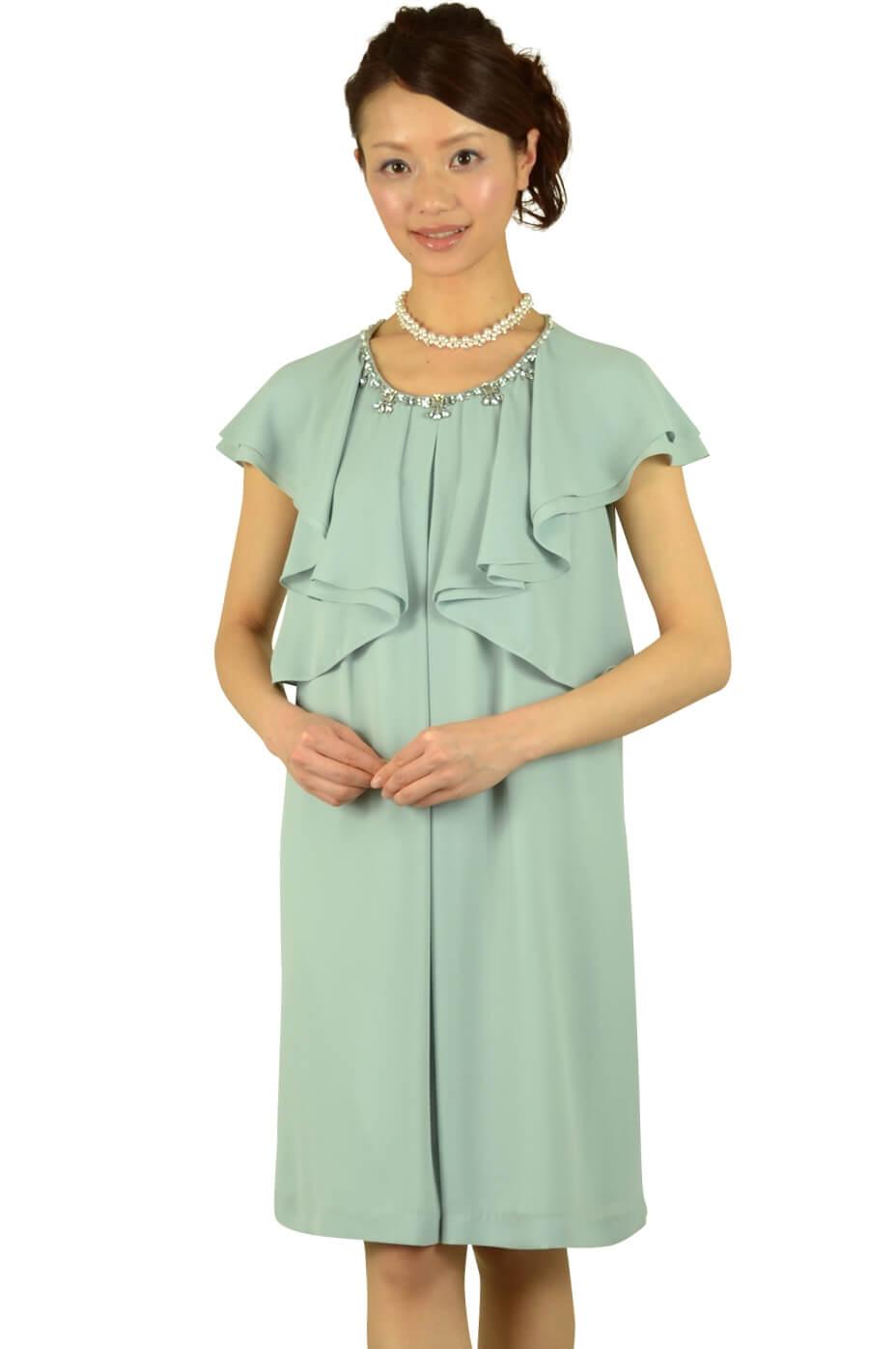 ペイトンプレイス(PEYTON PLACE)ミルキーグリーンラッフル袖ドレス