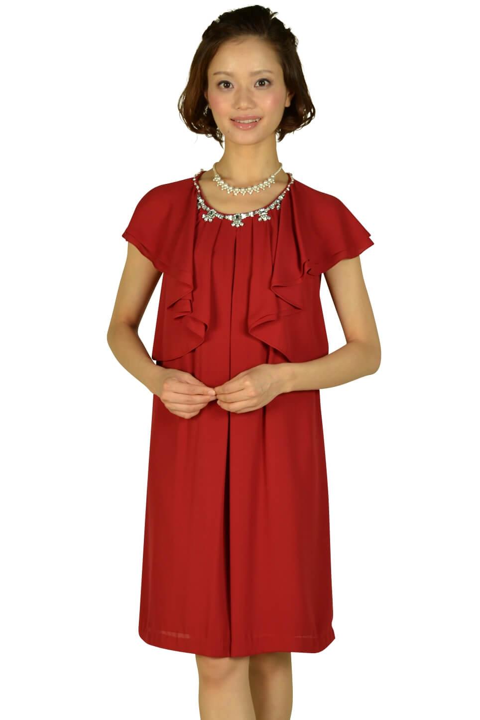 ペイトンプレイス(PEYTON PLACE)ボルドーラッフル袖ドレス