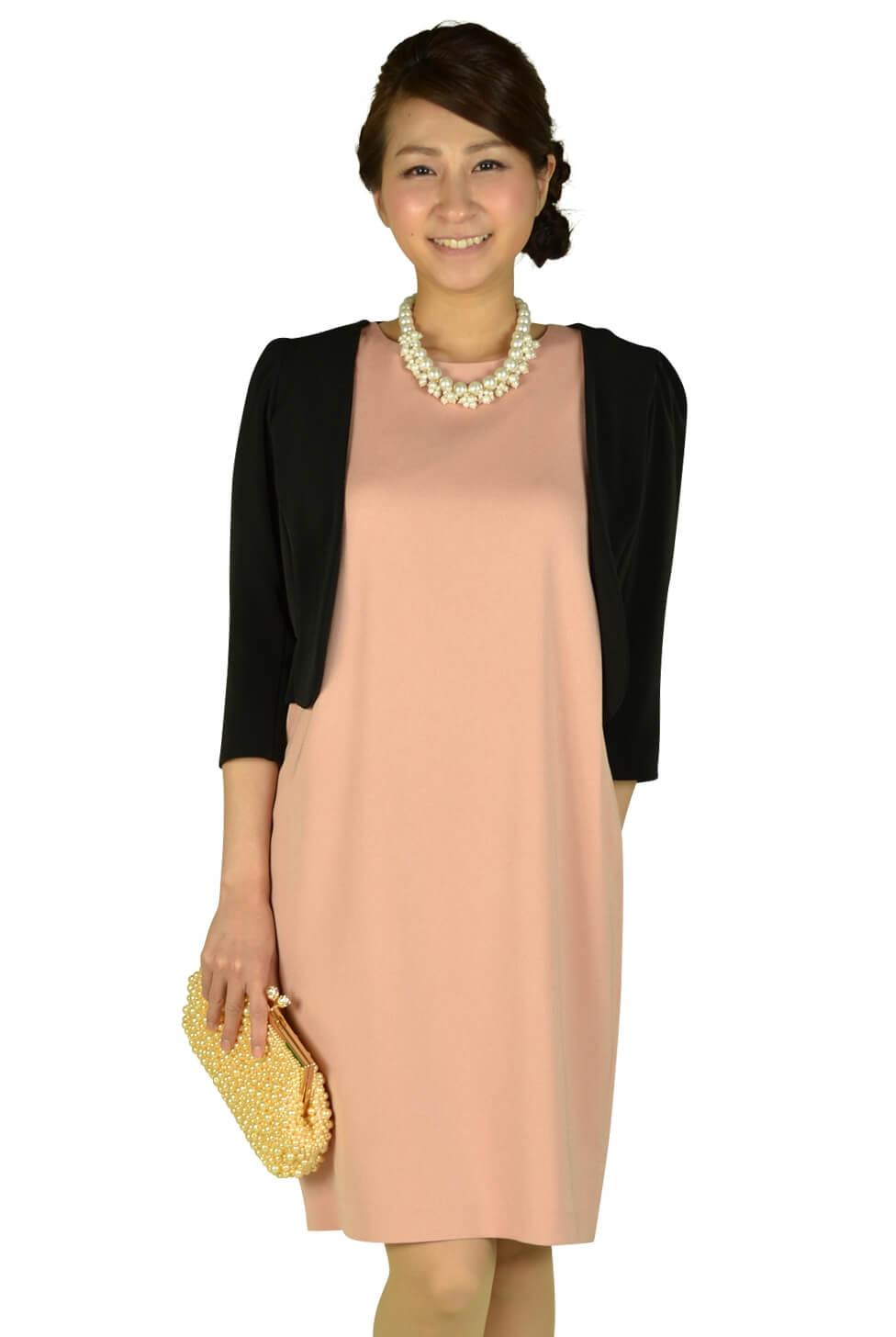 デミルクス ビームス(Demi-Luxe BEAMS)ジョーゼットピンク袖レースドレス