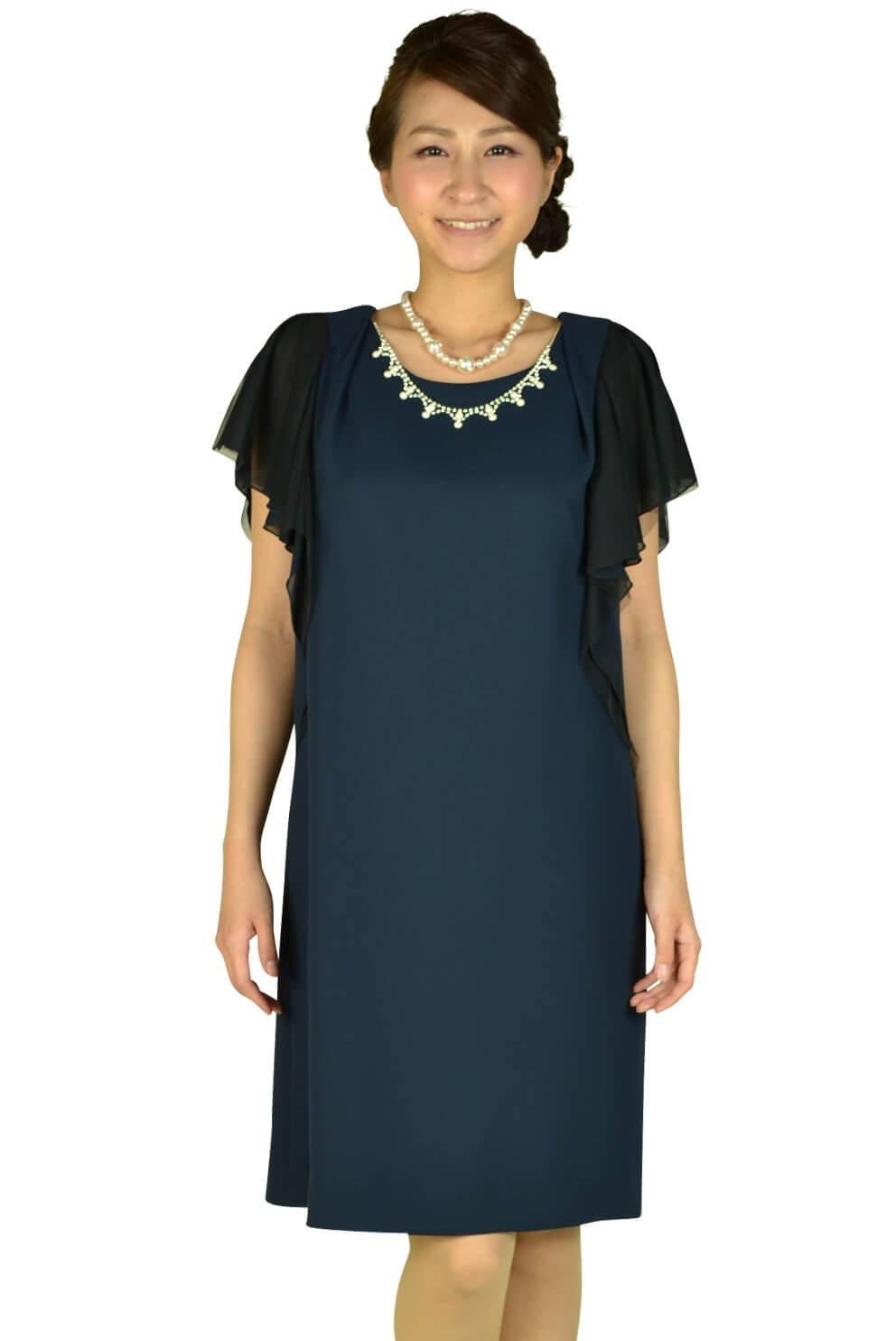 リプリート(REPLETE)異素材MIXネイビーミニ袖ドレス