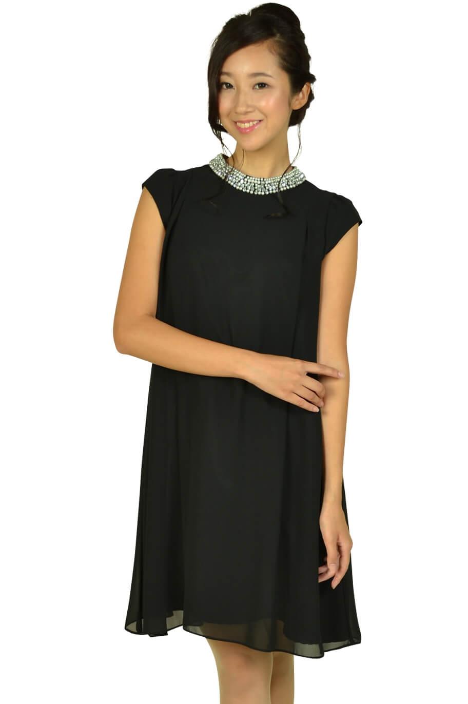 デリセノアール(DELLISE NOIR)ネックビジュブラックドレス