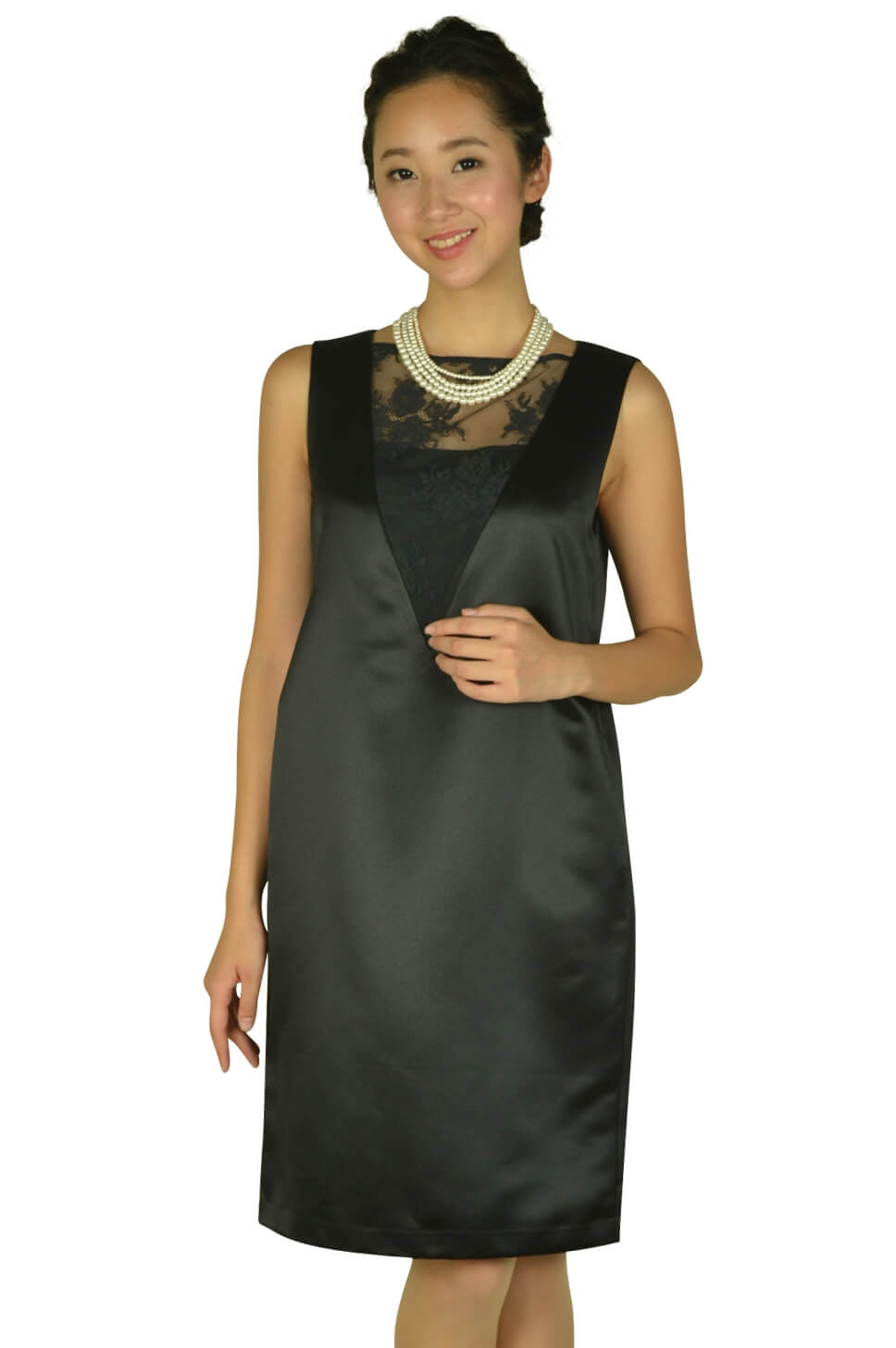 アナトリエ(anatelier)ゆったり光沢ブラックドレス