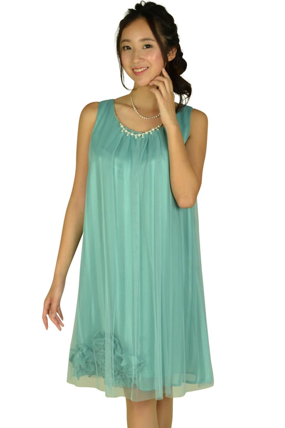 アシール(ASHILL)チュールストライプミントカラードレス