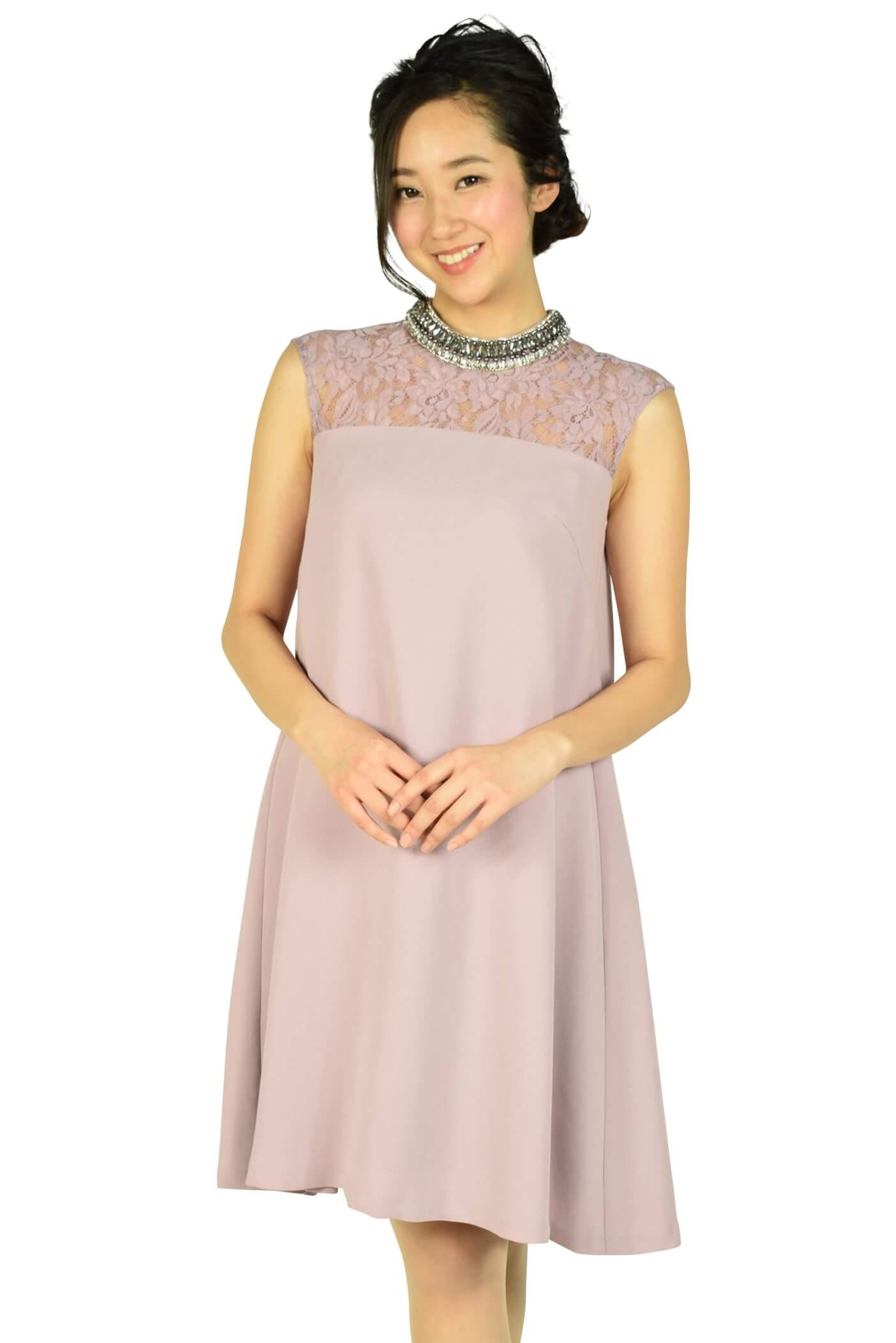 グレースコンチネンタル(GRACE CONTINENTAL) ネックビジュアッシュピンクドレス