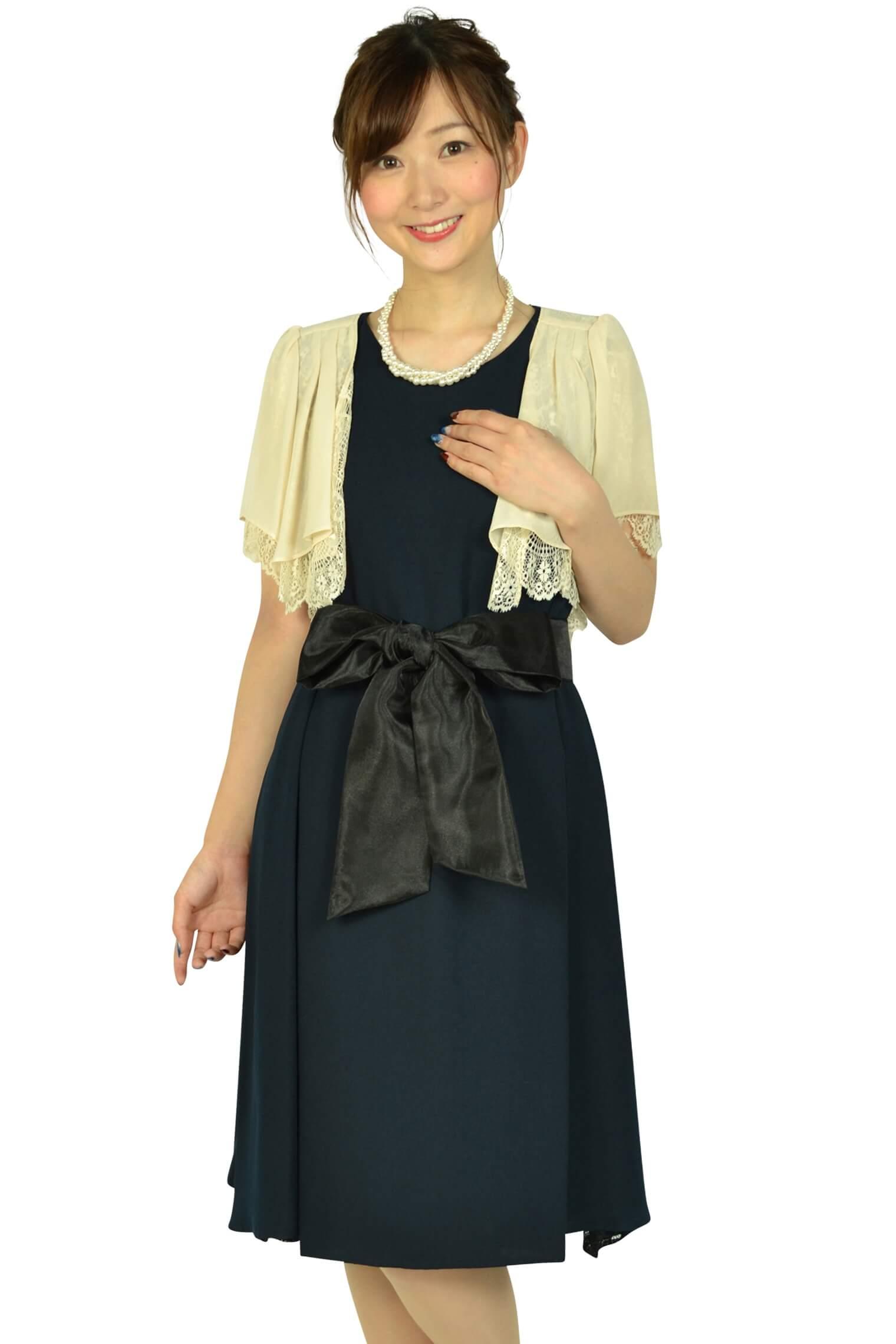 ビヲミナ(VIWOMINA)【授乳OK】ゆったりサイドレースネイビードレスセット
